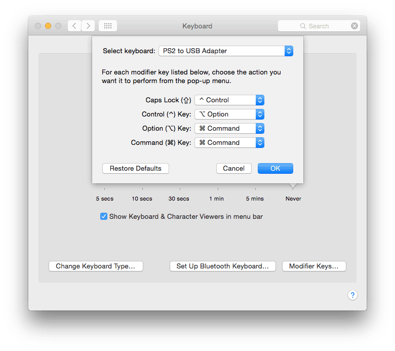 Mac OS X Keyboard Modifier Keys